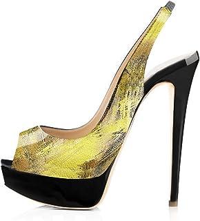 3c5aacdba47 Onlymaker Women s Platform Heeled Sandals Peep Toe Slingback High Heel  Pumps Stilettos Sandals Dress Party Shoes