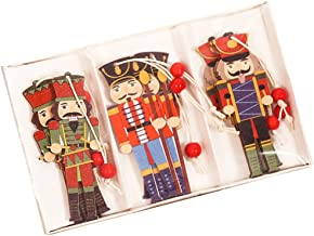 TOYANDONA 9pcs Christmas Tree Hanging Ornament Wooden Nutcracker Soldier Figurines Gift Tags Puppets Figures Dolls Toy Han...