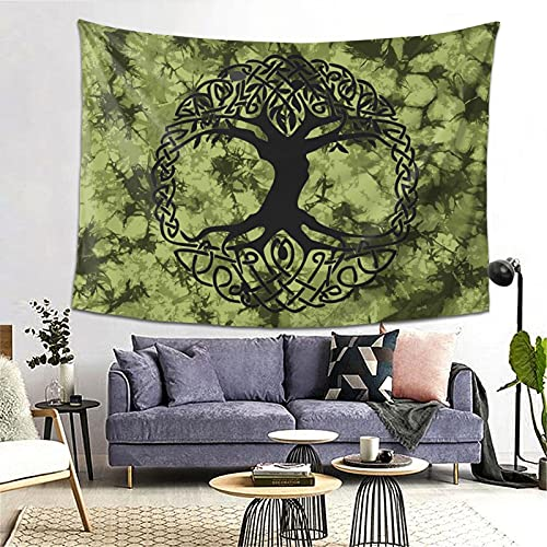 Wicca Green Tree Of Life Celtic Yggdrasil Yule India Tapestry Yoga Tapestries Wall Hanging Home Decoration Bedroom Decor Living Room Door Curtain Balcony Room Divider 80 X 60 Inch