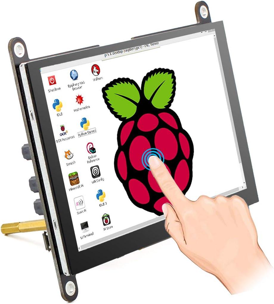 شاشة كمبيوتر محمول بتقنية IPS سعة 12.7 سم راسبيري Pi شاشة تعمل باللمس 800x480 USB تعمل بمكبر صوت مدمج وحامل لراسبري بي 4 3 2 موديل B Win PC