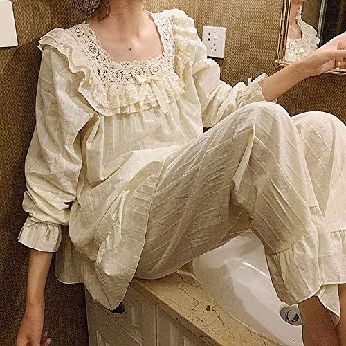 JJHR Schlafanzug Damen Blumenstickerei Spitze Pyjama-Sets mit quadratischem Hals Vintage-Baumwoll-Pyjama-Set Schlaf-Loungewear-Weiß_L.