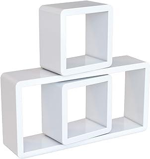 comprar comparacion SONGMICS Juego de 3 estantes para Libros CDs Estanterías de Pared Cubos Retro Blanco LWS102