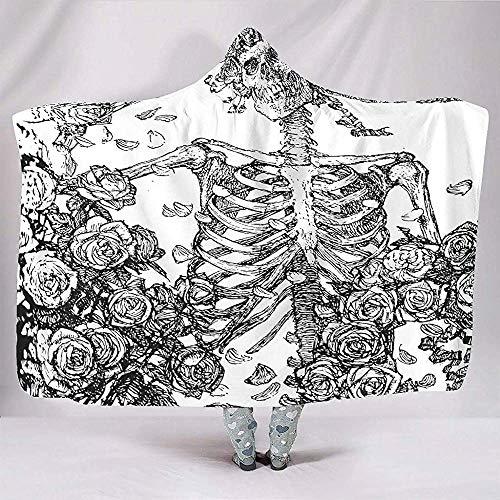 Zwarte en schedel met rozen geschetst schilderij Boheemse Hippie Hooded Dekens Trendy Fleece Hood Poncho Mantel