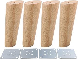 RDEXP - Juego de 4 patas de madera de roble de 15 cm de altura para muebles con placa de hierro para sofá o mesa.