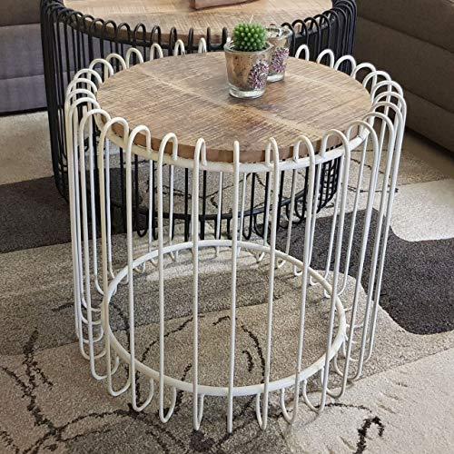 Soma salontafel rond ø 70 cm woonkamer tafel bijzettafel York metalen frame zwart mat of zuiver wit (BxHxL) 70 x 45 x 70 cm zuiver wit - Tabacco