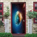 Etiqueta de Puerta 3D Planeta Cielo Estrellado Pegatinas de Pared Decoración de Hogar 95 x 215 cm