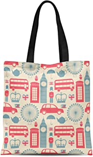Semtomn Cotton Canvas Tote Bag Blue Pattern London Symbols Red Vintage Bus England Britain Reusable Shoulder Grocery Shopping Bags Handbag Printed