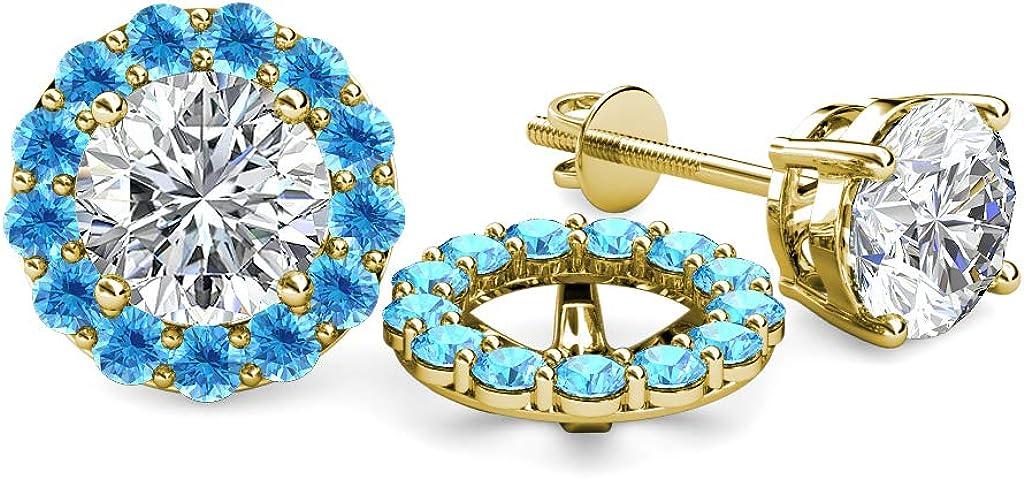 TriJewels Blue Topaz Halo Jacket for Stud Earrings 0.91 cttw in 14K Yellow Gold