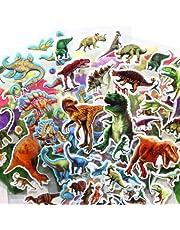 ملصقات منتفخة ثلاثية الأبعاد (200+ قطعة) ملصقات ديناصور جوراسيك تيرانوسورس ريكس 14 ورقة للأطفال، دفتر قصاصات حرفية لتزيين الملصقات الديكورية للتقويمات وملصقات الفنون
