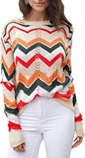 SOMTHRON Women's O Neck Long Sleeve Striped Knitwear Lightweight Winter Knitted Rainbow Pullover Sweater
