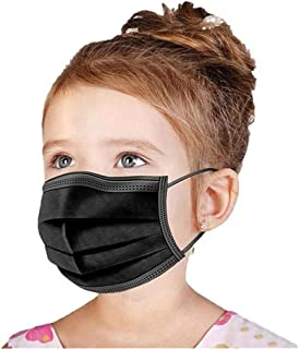 Kids Black Face Mask Disposable,100 Pcs Wanwane Ages 4-12 Children Sized Breathable Mouth Cover Face Masks