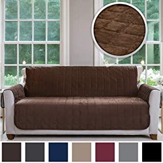 Gorilla Grip Original Velvet Slip Resistant Luxury Sofa Furniture Slipcover Protector, Seat Width Up to 70 Inch Patent Pending, 2 Inch Straps, Hook, Couch Furniture Cover for Kids, Sofa, Chocolate