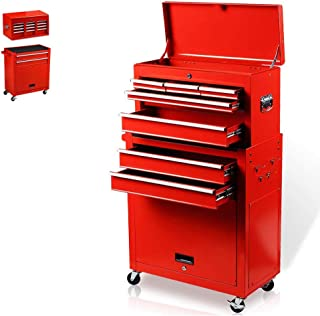 8-Drawer Rolling Tool Box, Rolling Tool Chest with Drawers and Wheels, Tool Storage Cabinet with 4 Swivel Wheels (2Pcs with Brake), Keyed Locking System Tool Organizer (Red)