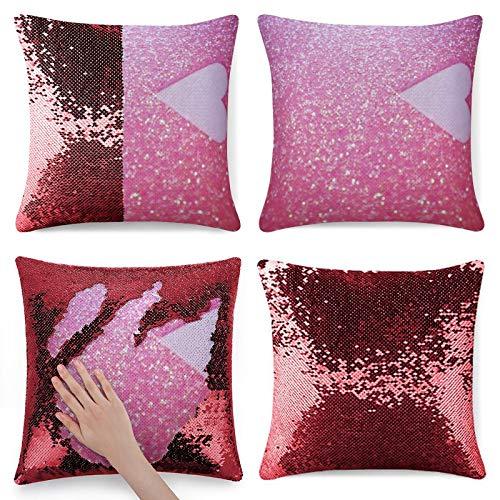 Rosa Glitter Love Pattern Glitter Funda de almohada rojo