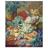 Legendarte - Impresión sobre lienzo - Naturaleza muerta con flores y frutas - Jan van Huysum - Cuadro sobre lienzo - Decoración de pared copia
