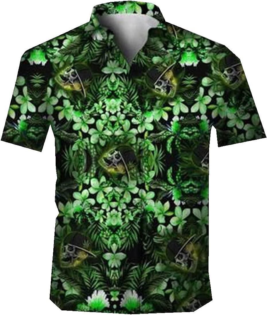Skull Hawaiian Shirts for Men - Skull Button Down Mens Hawaiian Shirts Short Sleeve Series 67