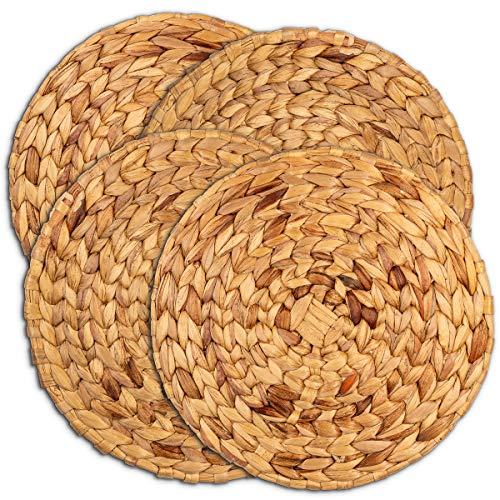 Woven Placemats | Round Placemats For Dining Table | 13' Water Hyacinth Placemats Set of 4 | Large Round Wicker Placemats For Round Table | Rattan Placemats | Bamboo Placemats Table Mats