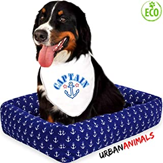 Urban Animals - Dog Bed Rectangle Pet Bed Sleep Cozy Beds for Small Medium Large Dogs & Cats Pet Bedding with Designer Printed White Anchors on Navy Blue Pattern