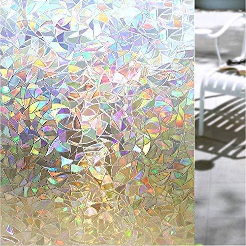 Shackcom 3D Fensterfolie Selbsthaftend Blickdicht Sichtschutz Sichtschutzfolie 90x400CM Statisch Haftend Anti-UV Dekorfolie für Bad Küche Büro Zuhause-Farbeffekt unter Licht S160