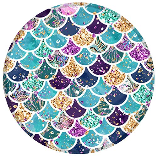 Mouse Pad, Glittering Mermaid Scales Pattern Colorful Mousepad, Non-Slip Gaming Mouse Mat with Stitched Edge, Waterproof Office Mousepads for Women Girls Office Computers Laptop, 7.87 x 7.87 Inch