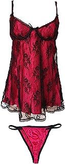 ملابس نوم نسائية مثيرة من انجر تي، لباس ليلي بيبي دول مصنوع من الدانتيل بشريط من الساتان