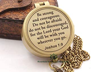 Roorkee Instruments India Compass with Scripture Joshua 1:9 is Engraved,Engraved Compass, Confirmation Gift Ideas, Baptism Gifts