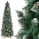 FairyTrees Albero di Natale Artificiale Slim, Pino con Punte innevate Effetto Naturale, PVC, pigne Naturali, Supporto in Legno, 220cm, FT09-220