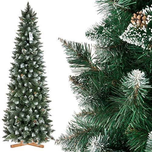 FairyTrees Pino con Punte innevate Effetto Naturale, Albero di Natale Artificiale Slim, PVC, pigne Naturali, Supporto in Legno, 220cm