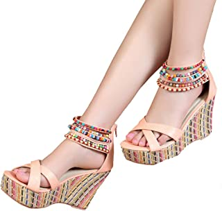 9c901d443c2 getmorebeauty Women s Wedge Sandals with Pearls Across The Top Platform Sandals  High Heels