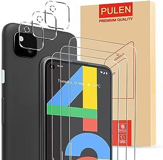 واقي شاشة 6 في 1 (3 قطع) من بولن لهاتف جوجل بكسل 4 ايه، مع 3 واقيات لعدسات الكاميرا، زجاج مقوى بدرجة صلابة 9 شفاف عالي الو...