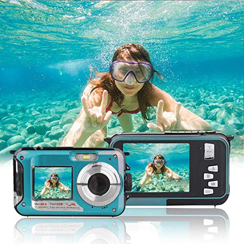 Unterwasserkamera Full HD 2.7K 48MP 10FT Kamera Wasserdicht Dual Screen 16X Digital Zoom Schnorcheln wasserdichte Digitalkamera für Selbstauslöser Unterwasser, Schwimmen, Urlaub