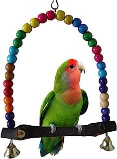 Yosoo Multi-Color 14cmx14.3cm Wooden Bird Swings Budgie Toys Bird Swings for Parakeets