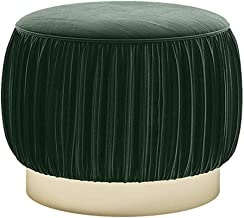ZzXJD Sofa Stool Fabric Wooden Round Stool Simple Creative Sofa Change Shoes Stool Makeup Chair (Color : Green)