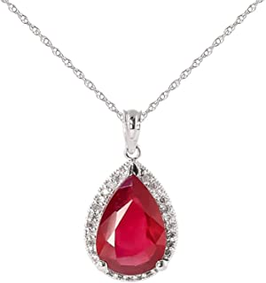 Galaxy Gold 14K Solid White Gold Rouge Necklace with 5.51 Carat Natural Ruby Diamond