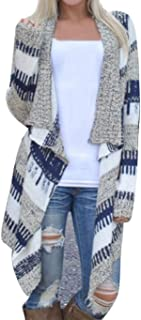 Women Casual Long Sleeve Cardigan Autumn Striped Loose...