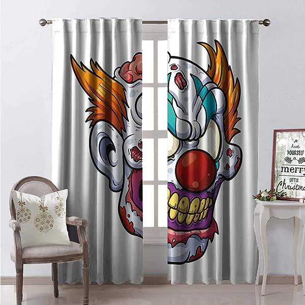 Hengshu Scary Room Darkening Wide Curtains Zombie Clown Head In Cartoon Style Evil Monster Scars Halloween Horror Mascot Waterproof Window Curtain W84 X L108 Multicolor