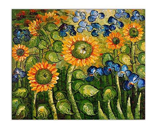 Arte dal Mondo VG038eat 01Girasoli e Iris a Mano, Pittura a Olio su Tela con Cornice