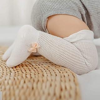 Elanpu, Malla de Verano Calcetines de Bebé de Algodón Fino Huecos 0-1-3 Años Tubo de Calcetines de Encaje para Prevenir Mosquitos 3 Piezas,