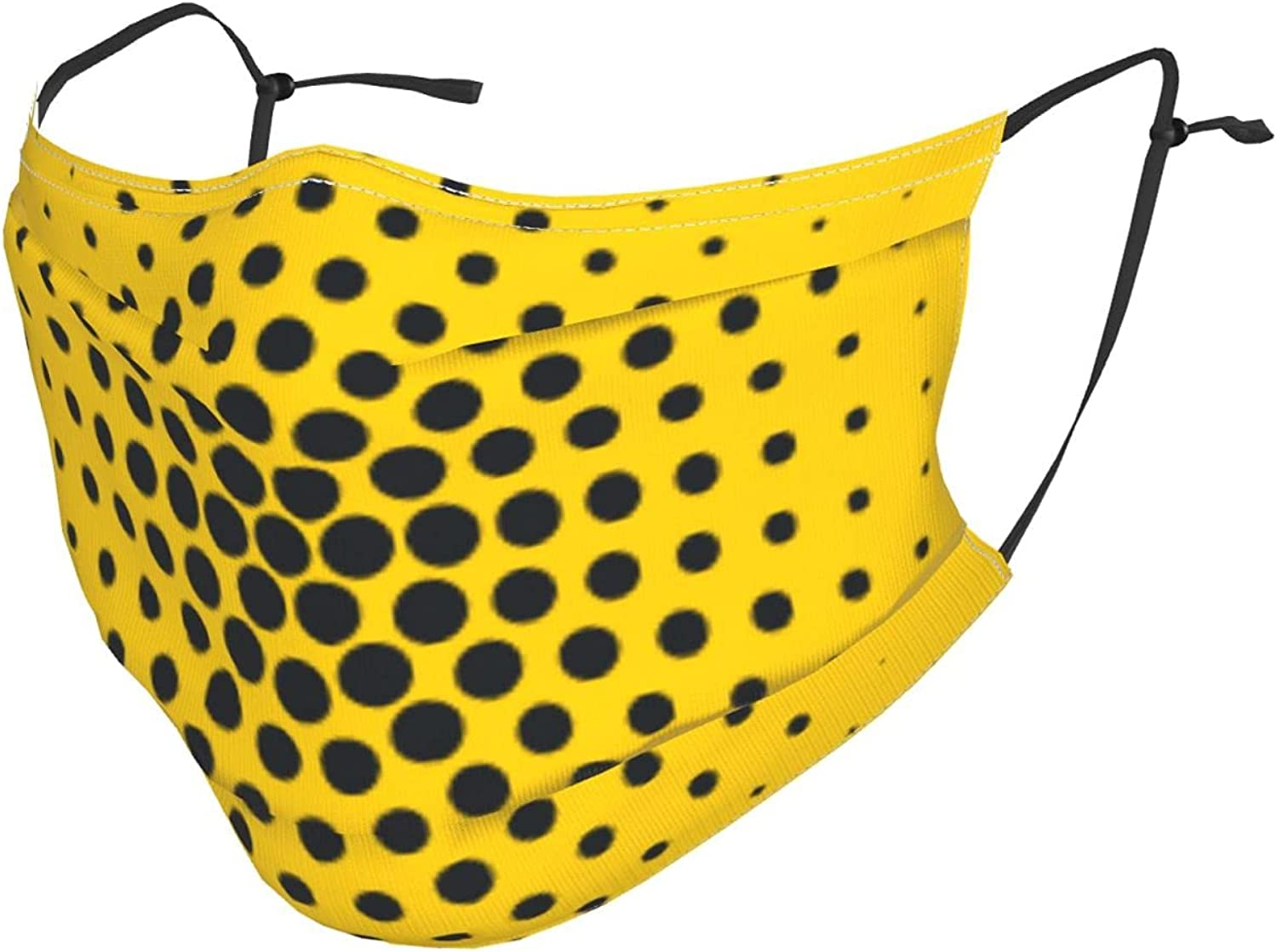 Black Circular Dots Yellow Background Adjustable Reusable Face Masks with Filter Pocket,Windproof Dust-Proof Washable Face Bandanas Balaclava Masks with Shield for Adults Kids Women Men