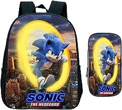 Sonic schoolrugzak set 2-delig. Schooltas pennenetui, ideaal voor basisschool, rugzak anime-patronen, A9., Large,