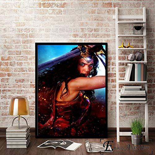 ganlanshu Cartel de Pared de película de Mujer impresión de Lienzo Pintura Moderna Imagen de Arte decoración de Sala de Estar,Pintura sin marco-60X80cm