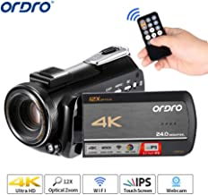 4K Camcorder Video Camera ORDRO 12x Optical Zoom 3.1'' IPS Touch Screen 4K Ultra HD 1080P 60FPS WiFi Digital Camcorders with Microphone and Wide Angle Lens