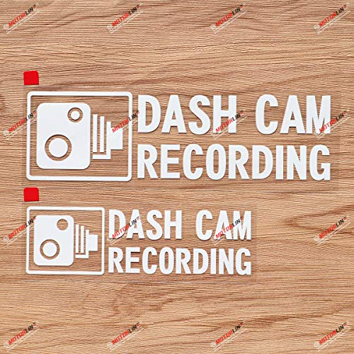 Dash Cam Recording in Car Camera Car Decal Vinyl Sticker - 2 Pack White, 6 Inches, 8 Inches - No Background