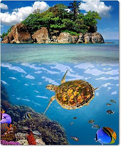 Merchandise for Fans Muismat van textiel met achterkant van rubber antislip voor alle muistypen, motief: zee met koraalgreep en schildpad onderwateropname | 007