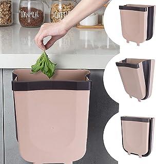 EVILTO Cubos de Basura Plegable Bote de Basura Colgante Basurero Plegable Basura Extraible para la Cocina, Dormitorio y Coche, 9L, Marrón