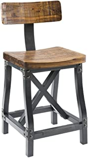 Ink+Ivy FPF20-0312 Lancaster Counter Stools, Contour Seat, Removable Backrest Modern Industrial Counter-Height Kitchen Chair, Solid Wood, Metal Kickplate Footrest, Dining Room Accent Furniture, Amber