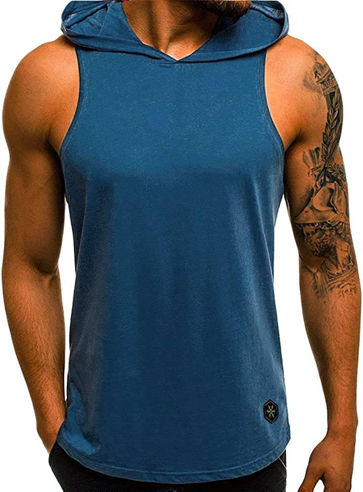 VEKDONE Men's Workout Hooded Tank Elegant Sleeveless Mu Ranking TOP14 Hoodies Tops Gym