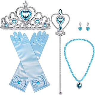 Bonallo Princess Dress Up Accessories Gift Set For Elsa Crown Scepter Necklace 5