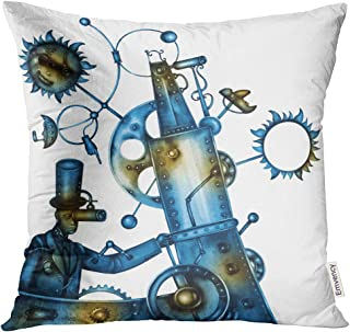 Semtomn Decorative Throw Pillow Case Cushion Cover Adult Steampunk Man Person Braids Costume Culture Cyberpunk Cyborg Device 16x16 Inch Cases Square Pillowcases Covers