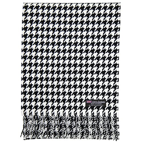 2 PLY 100% Cashmere Scarf Elegant Collection Made in Scotland Wool Solid Plaid (White Black houndstooth)